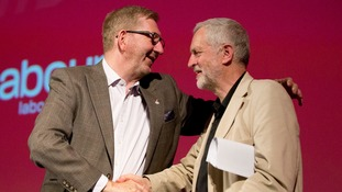 Len McCluskey, with Labour leader Jeremy Corbyn, in May