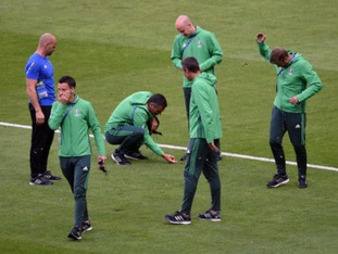 English officials, led by referee Mark Clattenburg, also saw their pre-match routine interrupted.