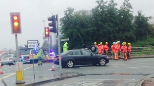 Overturned car at the traffic lights near Trafford Road, Salford Quays