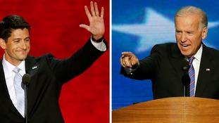 Republican vice-presidential nominee Paul Ryan and Vice President Joe Biden
