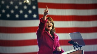 US Republican vice-presidential nominee Sarah Palin speaks at a campaign rally in 2008.