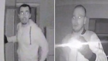 CCTV shows burglars scoping S London home for valuables.