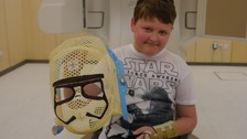 Reece with his specially made Storm Trooper mask