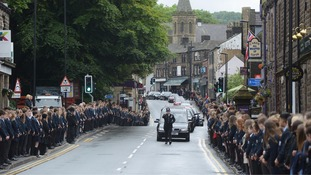 The funeral procession through the village was led by Saddleworth South neighbourhood beat officer PC Lee Cullen