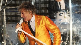 Rod Stewart performs in concert at Elland Road, Leeds.