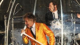 Rod Stewart performs in concert at Elland Road, Leeds.