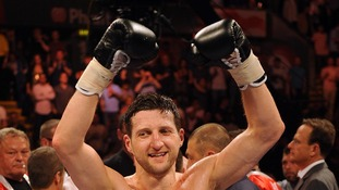 Carl Froch celebrating being super middleweight champion