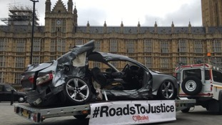 Dead driver's car displayed outside Parliament amid calls for tougher sentences for road offences