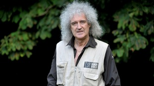 Queen guitarist Brian May in Newent, Gloucestershire where he is meeting with groups opposed to the badger cull.