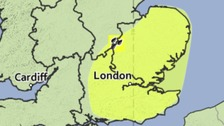 Area covered by a yellow weather warning for the risk of torrential thundery downpours on Tuesday.
