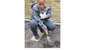 A child gardening.