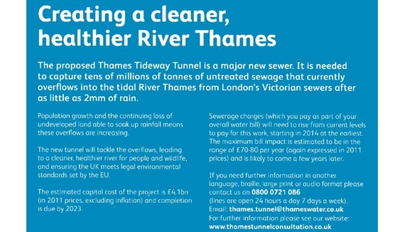 Leaflet delivered to Thames Water customers