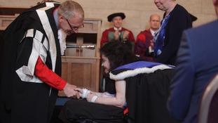 Melanie receives her degree