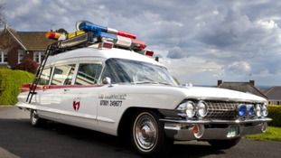 Ghostbusters Ecto-1 pulls into Leeds