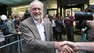Labour Party leader Jeremy Corbyn leaves Labour HQ on Tuesday evening.