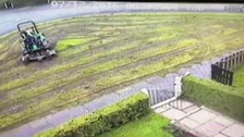 Moment a council worker turned a neat lawn into a mudbath