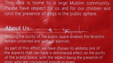 Leaflet saying dogs are 'impure' offends locals