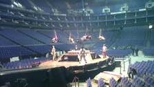 Performers rehearse at the O2 Arena.