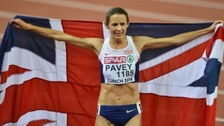 Jo Pavey winning the women's 10,000 metres at the European Athletics Championships