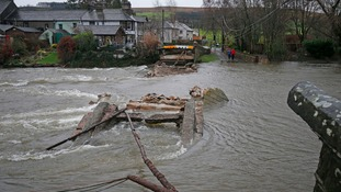 The collapsed bridge at Pooley Bridge after Storm Desmond