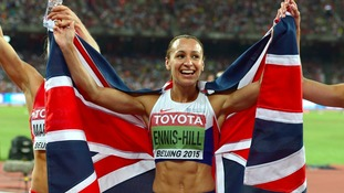 Great Britain's Jessica Ennis-Hill celebrates winning the gold medal at the IAAF World Championships in Beijing