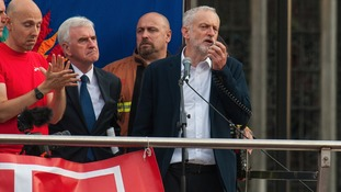 Labour leader Jeremy Corbyn speaks in Parliament Square at a Momentum demonstration.