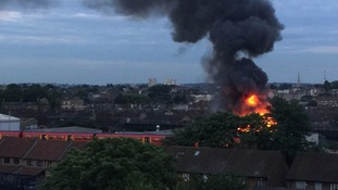 Large fire at industrial estate in Battersea