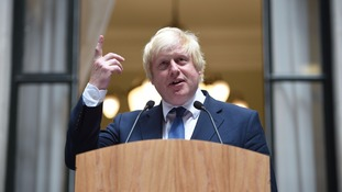 Boris Johnson addresses staff at the Foreign Office.