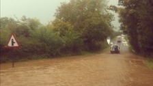 Road flooding in Newport, Pembrokeshire