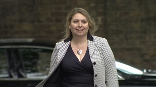 Karen Bradley beaming as she walks into Downing Street