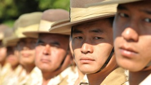 shot of Gurkhas on parade