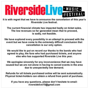 Statement on the Facbook page of Riverside Live