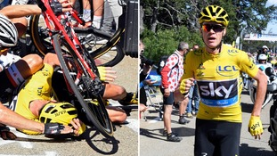 Chris Froome abandons bike and runs Tour de France after crash