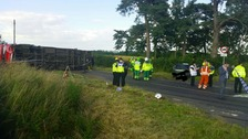Bus carrying children overturns in Northamptonshire