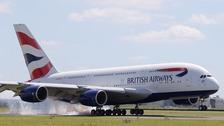 A BA plane lands in France.