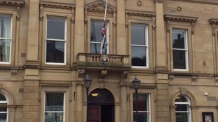 Flag at half mast above Batley Town Hall