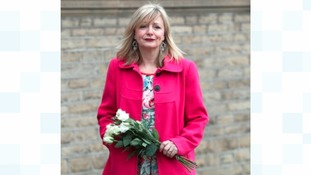 Actress Tracy Brabin stands in Batley awaiting the cortege