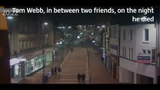 Tom Webb, in between two friends, on St Peter's Street in Derby on the night he died