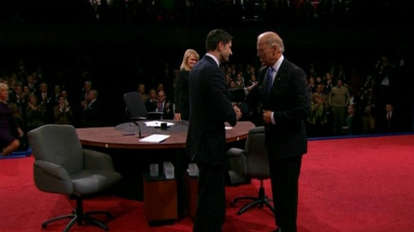 Paul Ryan and Joe Biden shake hands after their vice-presidential debate