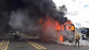 School coach bursts into flames on way back from Alton Towers