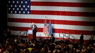 Donald Trump against US flag