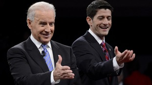 Vice President Biden and Republican vice presidential nominee Ryan react at the conclusion of the U.S. vice presidential debate in Danville