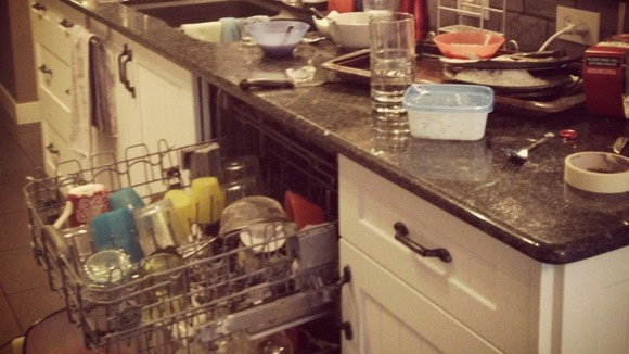 Dirty dishes piling up in the dishwasher