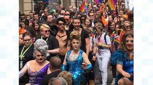 Hundreds take part in the Pride Parade.