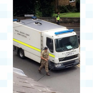 Bomb disposal units are assessing the suspicious package.