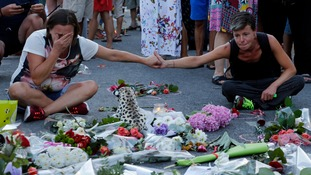 Mourners on the Promenade des Anglais where the tragedy happened.