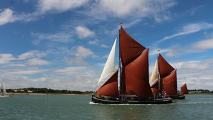 The Pin Mill annual barge race on the River Orwell in Suffolk on Saturday.