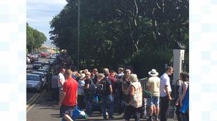The queue to enter Bents Park.
