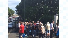 The queue to enter Bents Park.