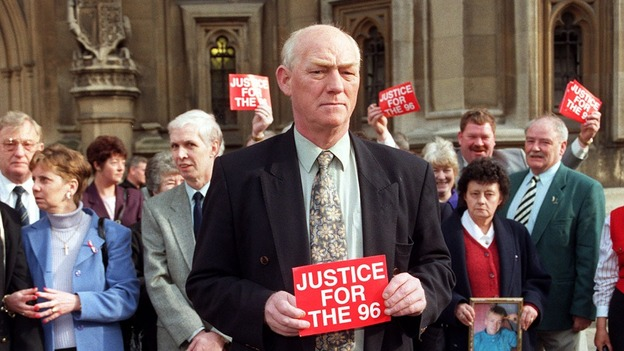 Phil Hammond heads up a demonstration by the families of the 96 victims of the Hillsborough tragedy